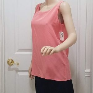 Authentic CHANEL silk salmon pink shell NWT!